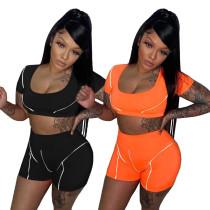 Women Fashion Short Sleeve Crop Top Reflective Stripe Patchwork Short Pants Set