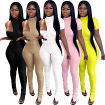 Women Solid Color Chest Wrap+Irregular Bodysuit+Long Pants Sexy Outfits 3pcs
