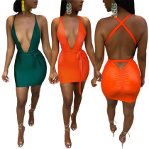 Women's Sexy Deep V Neck Bandage Backless Solid Color Sleeveless Club Dress
