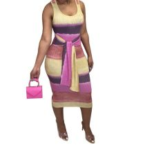 Fashion Women Sleeveless Colors Patchwork Bandage Spring Summer Slim Dress