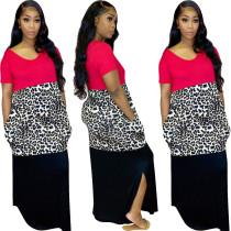 Women Sexy Round Neck Short Sleeve Leopard Print Patchwork Pockets Long Dress