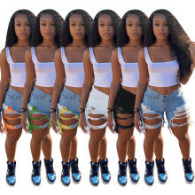 New Women Fashion Distressed Tassel Sexy Casual Club Street Short Denim Jeans