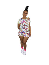 Women Fashion Casual Short Sleeve T-shirt+Short Pants Butterfly Print Outfits