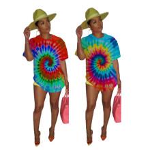 Women Casual Round Neck Short Sleeve Tie-dyed Print Asymmetrical Hem T-shirt