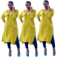 Women Simple V Neck Half Sleeve Solid Color Pockets Side Slit Casual Loose Dress