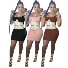 Women Fashion Sleeveless Color Block Zipper Bodycon Sexy Mini Skirt Set 2pcs