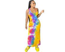 Women Fashion Sexy Sleeveless Tie-dyed Print Slim Casual Summer Long Dress