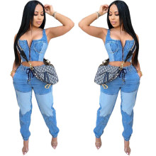 Fashion Women Sleeveless Zipper Vest Color Block Pockets Imitation Jean Outfits