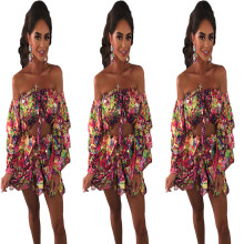 Women Sexy Off Shoulder Layered Sleeve Crop Top Colorful Print Short Pants Set
