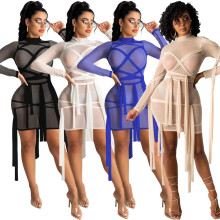 Sexy Women Long Sleeve Solid Color Mesh Pespective Bandage Bodycon Short Dress