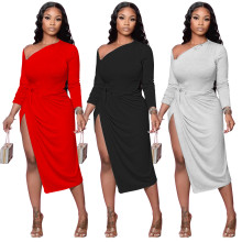 Women Sexy Sloping Shoulder Long Sleeve Solid Color High Slit Casual Dress