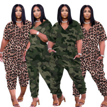 Women Fashion V Neck Short Sleeve Printed Pockets Zipper Loose Casual Jumpsuit