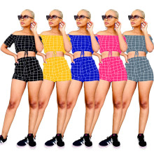 Women Boat Neck Short Sleeve Crop Top Plaids Print Pockets Short Pants Set 2pcs