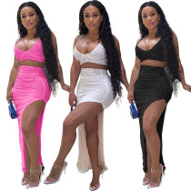 Sexy Women Spaghetti Strap Crop Top Solid Color Irregular Slit Skirt Set 2pcs