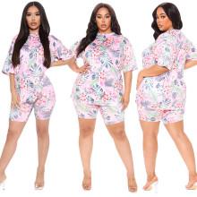 M-5XL Women Fashion Short Sleeves Floral Print Casual Short Outfits Homewear 2pc