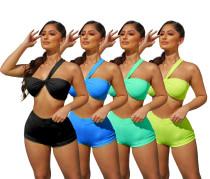 Women Fashion One Shoulder Sleeveless Bra Solid Color Summer Short Pants Set 2pc