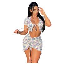 Summer Women Short Sleeve Bandage Cardigan Floral Print Drawstring Skirt Set 2pc