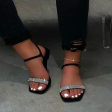 Women Ladies Summer Casual Square Head Rhinestones Flat Shoes Slides Sandals