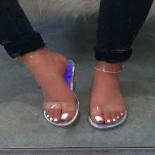 Women Summer Casual Transparent Beach Flat Shoes Sandals Slippers
