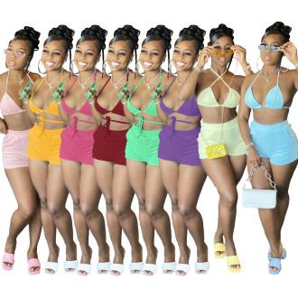 Summer Women Halter Bandage Bra Solid Color Pockets Casual Short Pants Set 2pcs
