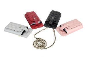 Imported sheepskin Lingge mobile phone bag Ladies shoulder messenger bag Genuine leather chain bag