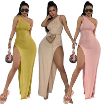 New Sexy Women Sloping Shoulder Sleeveless Solid Color High Slit Casual Dress