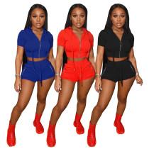 Women Fashion Hooded Short Sleeve Zipper Solid Color Casual Short Pants Set