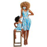 Mother and Daughter Matching Casual Spaghetti Strap Backless Tie-dyed Jumpsuit