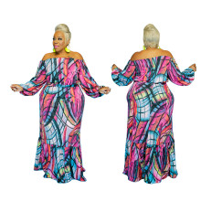 S-5XL New Women's Boat Neck Long Sleeve Printed Fashion Long Skirt Set 2pcs