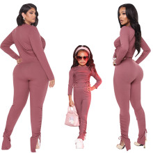 Mother and Daughter Outfits Long Sleeve Solid Drawstring Outfits Family Clothes