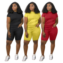 Women Fashion Casual Short Sleeve Solid Color Jacquard Pockets Outfits 2pcs