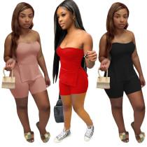 Women Sexy Strapless Side Slit Top Solid Color Bodycon Short Pants Set 2pcs