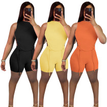 Women Sexy Sleeveless Solid Color Bandage Backless Bodycon Short Outfits 2pcs