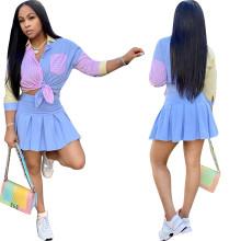 Women Fashion 3/4 Sleeve Stripe Print Buttons Shirt+Mini Pleated Skirt Set 2pcs