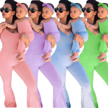 Family Matching Jumpsuit Mother Daughter Halter Bandage Solid Bodycon Jumpsuit