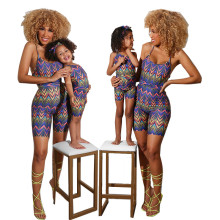 New Summer Family Matching Mother Daughter Colorful Wave Stripe Print Jumpsuit