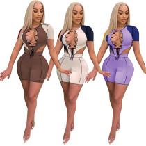 Women Fashion Short Sleeve Bandage Irregular Top Colors Patchwork Short Outfits
