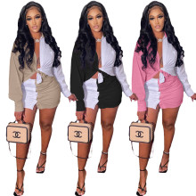 Fashion Women Turn-down Neck Long Sleeve Buttons Color Block Skirt Set 2pcs