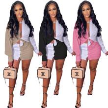 Fashion Women Turn-down Neck Long Sleeve Buttons Color Block Skirt Set 2pcs