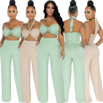 Women Sexy Multi-way Wear Sleeveless Solid Color Pockets Long Outfits 2pcs