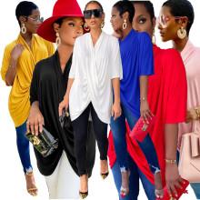 Women Casual Short Sleeve Solid Color Fashion Irregular T-shirt Summer Tops