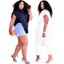 New Women Fashion Solid Color Turn-down Neck Sleeveless Shirt Shawl+Top 2pcs