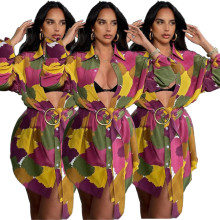 Women Fashion Turn-down Neck Long Sleeve Buttons Belted Colorful Print Shirt