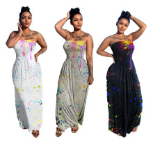 New Women Sexy Strapless Splash-ink Print Summer Casual Fashion Long Dress