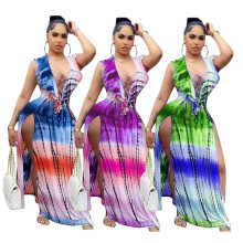 Women Sexy V Neck Bandage Sleeveless Ruffled Tie-dyed Print High Slit Dress