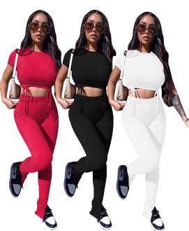 New Women's Short Sleeve Drawstring Top Solid Color Bottom Slit Pants Set 2pcs