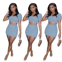 New Women Simple Sexy Short Sleeve Solid Color Bandage Draped Mini Skirt Set
