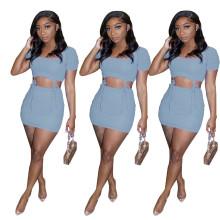 New Women Simple Sexy Short Sleeve Solid Color Bandage Draped Mini Skirt Set
