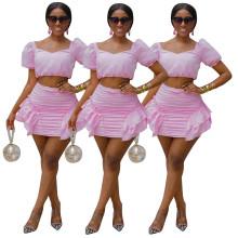 Fashion Women Short Sleeve Crop Top Solid Ruffled Zipper Mini Skirt Set 2pcs