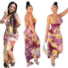 Women Fashion Tie-dyed Print Sleeveless High Slit Summer Slim Casual Dress